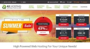 A2 Hosting home page
