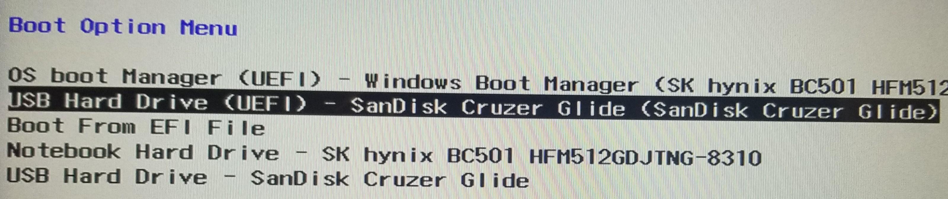USB Hard Drive (EUFI) - SanDisk Cruzer Glider